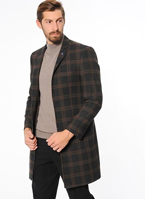 Wessi Ekoseli Dar Kesim İngiliz Yaka Klasik Palto Füme